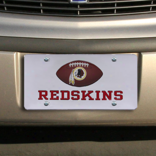Washington Reedskins Mirrored License Plate W/ Domed Football