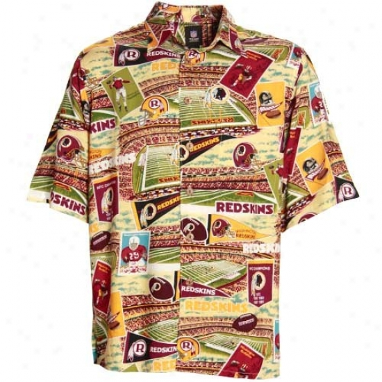 Washington Redskins Polo : Reyn Spooner Washington Redskins Burgundy Scenic Print Hawaiian Button-up Snirt
