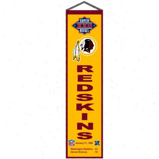 Washington Redskins Super Bowl Xxii Champions Gold Heritage Banner
