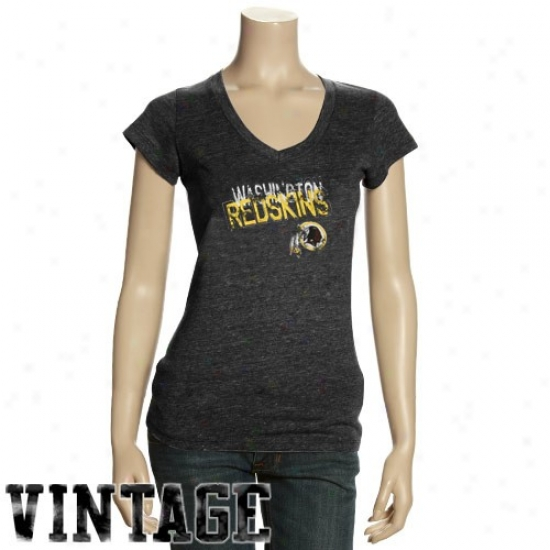 Washington Redskins Tee : Washington Redskins Ladies Black Triblend V-neck Vintage Tee