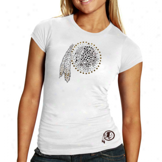 Washington Redskins Tshirt : Reebok Washington Redskins Ladies White Rhinestone Logo Premium Txhirt
