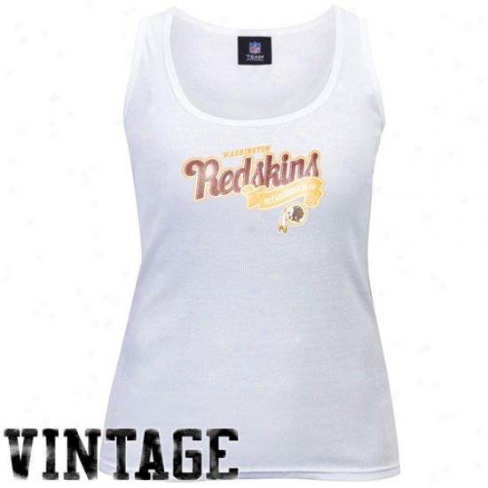 Washington Redskins Tshirt : Washington Redskins Ladies White Play Time Vintage Tank Top