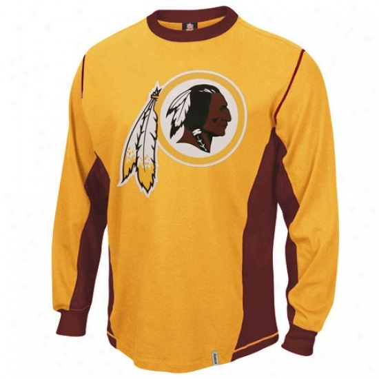 Washington Redskins Tshirts : Reebok Washing5on Redskins Gold Downforce Constructed Long Sleeve Premium Tshirts