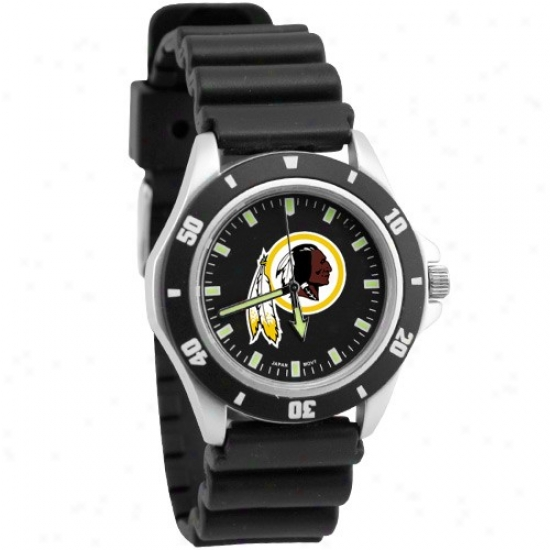 Washington Redskins Wrist Watch : Washington Reddkins Black Men's Stainless Steel Face Challenger Spotts Wrist Watch