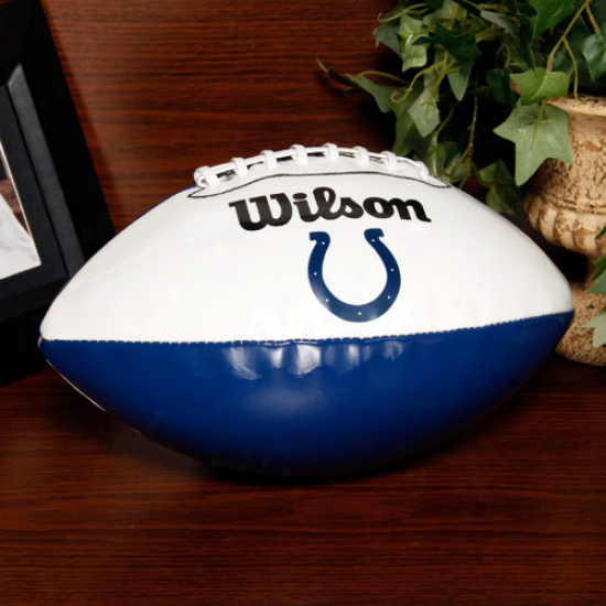 Wilson Indianapolis Colts Royal Blue-white Full-size Autograph Football