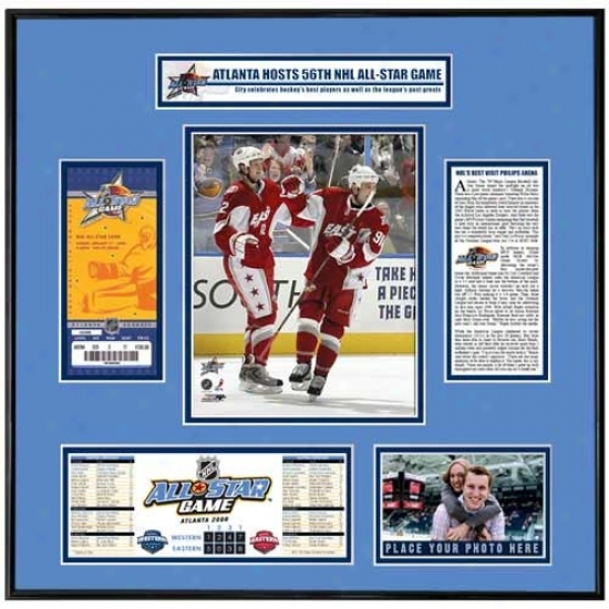 2008 Nhl All-star Plan Marc Savard & Eric Staal Ticket Frame