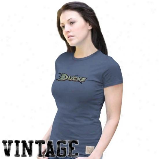 Anaheim Duck Apparel: Original Retro Brand Anaheim Duck Ladies Navy Blue Distressed Logo Vintage Washed Premium T-shirt