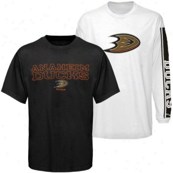 Anaheim Dudk Apparel: Reebok Anaheim Ducj Black-white Gameday Combo T-shirts