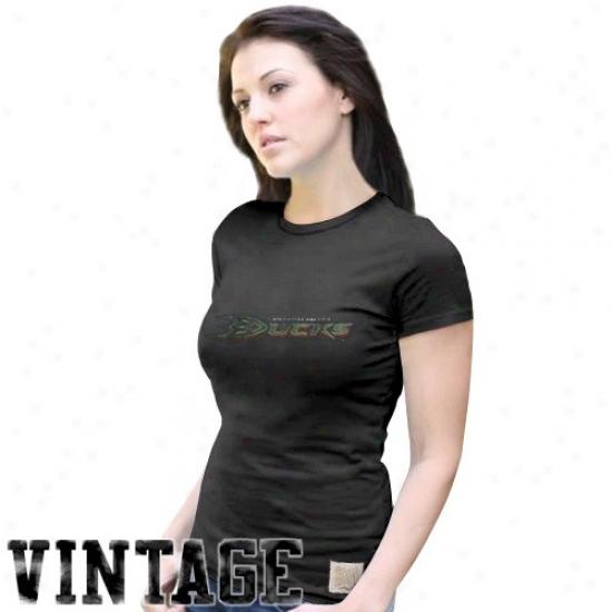Anaheim Duck Attire: Original Retro Brand Anaheim Duck Ladies Black Logo Vintage Premium T-shirt