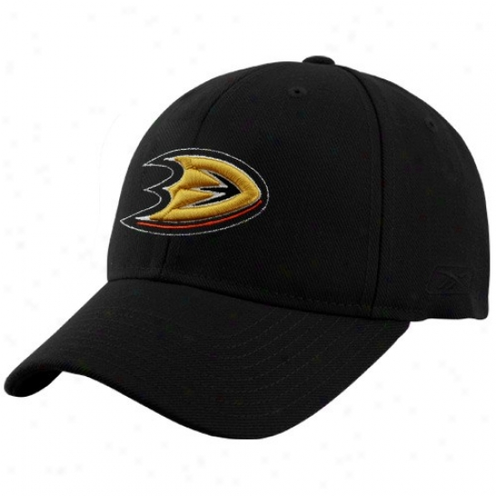 Anaheim Duck Cap : Reebok Anheim D8ck Black Basic Logo Wool Blend Adjustable Cap