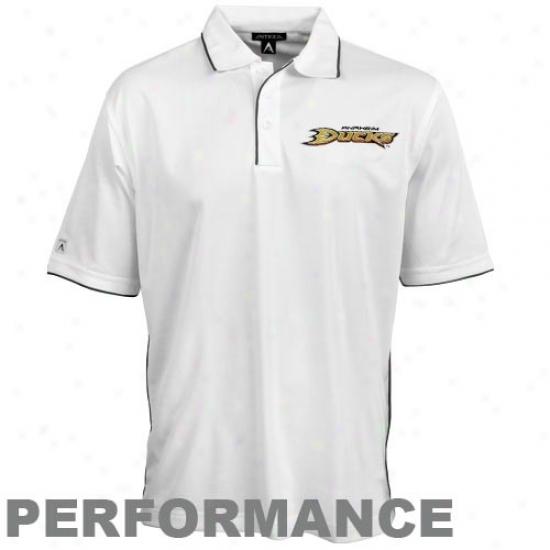 Anaheim Duck Clothes:_Antigua Anaheim Duck White Superior Performance Polo