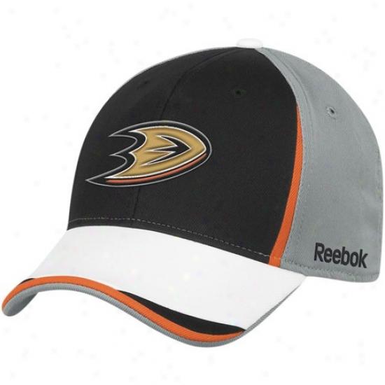 Anaheim Duck Hats : Reebok Anaheim Duck Gray-black Nhl 2010 Draft Day Flex Fit Hats