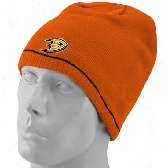 Anaheim Duck Hats : Reebok Amaheim Duck Orange-black Reversible Official Team Beanie