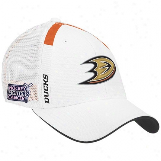 Anaheim Duck Hats : Reebok Anaheim Duck White  Hockey Fights Cancer Draft Day Flex Fit Hats