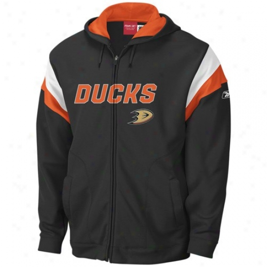 Anaheim Duck Hoodies : Reebok Anahei Dive Black Toop Shelf Full Zip Hoodies