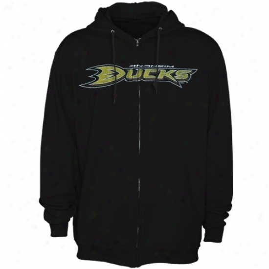 Anaheim Duck Hoody : Majestic Anaheim Duck Black Official Logo Full Zip Hoody
