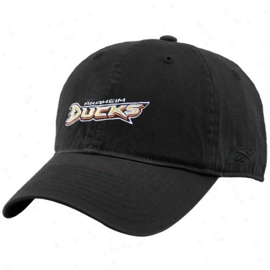 Anaheim Duck Merchandise: Reebok Anaheim Duck Black Unstructursd Slouch Hat