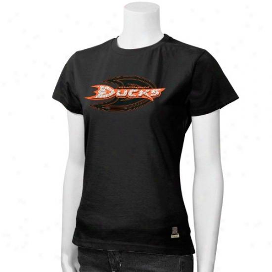 Anaheim Duck Tshirts : Reebok Anaheim Duck Ladies Black Dazzle Tshirts