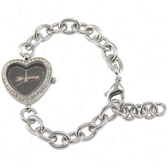 Anaheim Immerse Wrist Watch : Anaheim Duck Ladies Silver Heart Wrist Watch