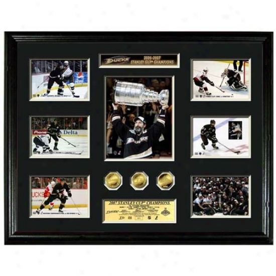 Anaheim Ducks 2007 Stanley Cup Champions Mega Mint W/ Three 24kt Gold Coins