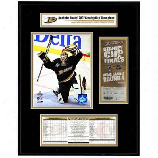 Anaheim Ducks 2007 Stanley Cup Champions Ticket Frame Jr. Game 1 Jean-sebastien Giguere