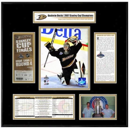 Anaheim Ducks 2007 Stanley Cup Champions Ticket Frame Game 1 Jean-sebastien Giguere