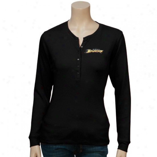 Anaheim Ducks Attire: Antigua Anaheim Ducks Ladies Black Brilliant Long Sleeve T-shirt