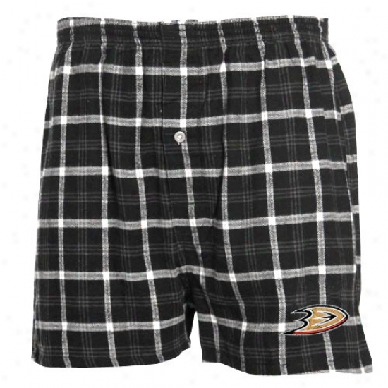Anaheim Ducks Black Plaid Tailgate Flannel Boxer Shorts