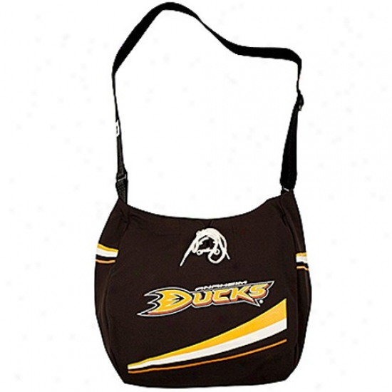 Anaheim Ducks Black Veteran Jersey Tote Bag