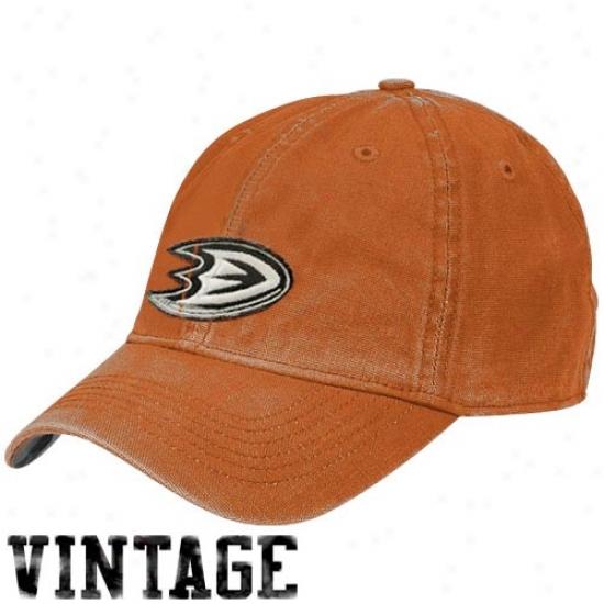 Anaheim Ducks Cap : Reebok Anaheim Ducks Orange Distressed Logo Vintage Slouch Cap