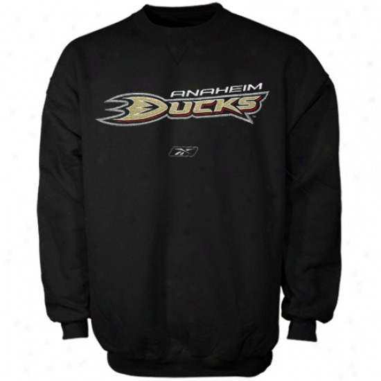 Anaheim Ducks Fleece : Reebok Anaheim Ducks  Black Official Logo Crrw Fleece