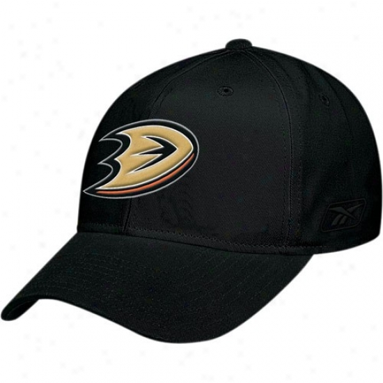 Anaheim Ducks Gear: Reebok Anaheim Ducks Youth Black Basic Logo Adjustable Hat