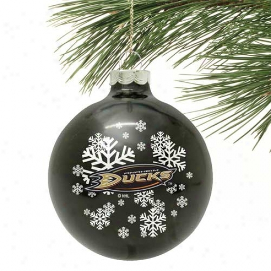 Anaheim Ducks Green Snowflake Glass Ornament