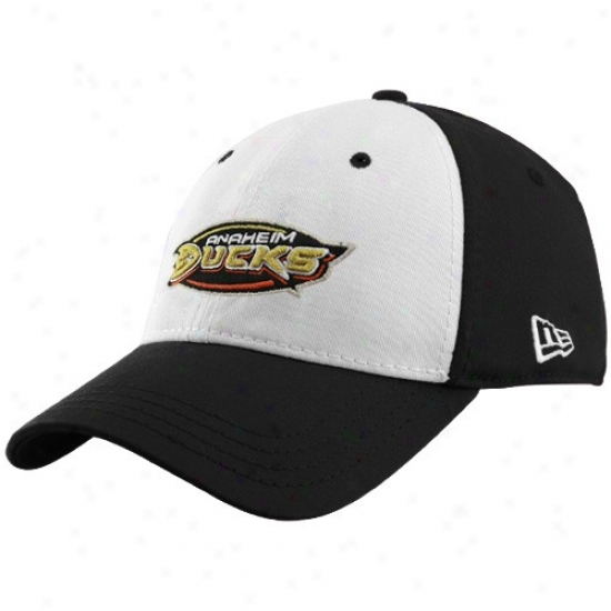 Anaheim Ducks Hat : New Era Anaheim Ducks Black 39thirty Stretcn Fit White Front Hat