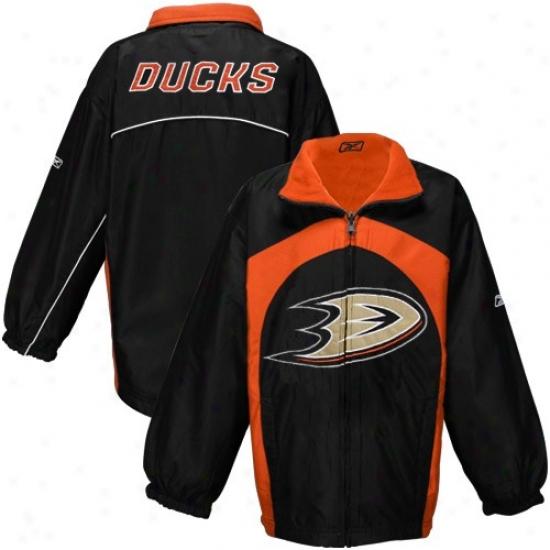 Anaheim Ducks Jackets : Reebok Anaheim Ducks Youth Black-orange Play Maker Reversible Full Zip Jackets