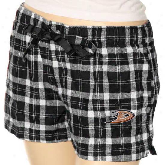 Anaheim Dicks Ladies Black Plaid Llunge Shorts