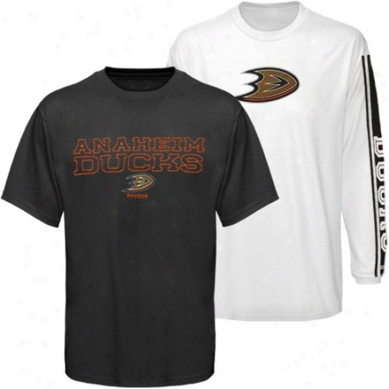 Anaheim Ducks Shirt : Reebok Anaheim Ducks Black-white 3-in-1 Shirt Combo Burden
