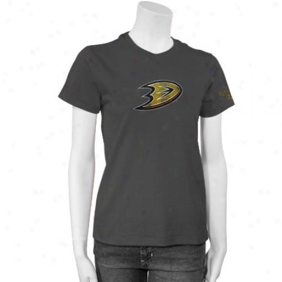 Anaheim Ducks Shirts : Reebok Anaheim Ducks Ladies Charcoak Better Logo Shirts