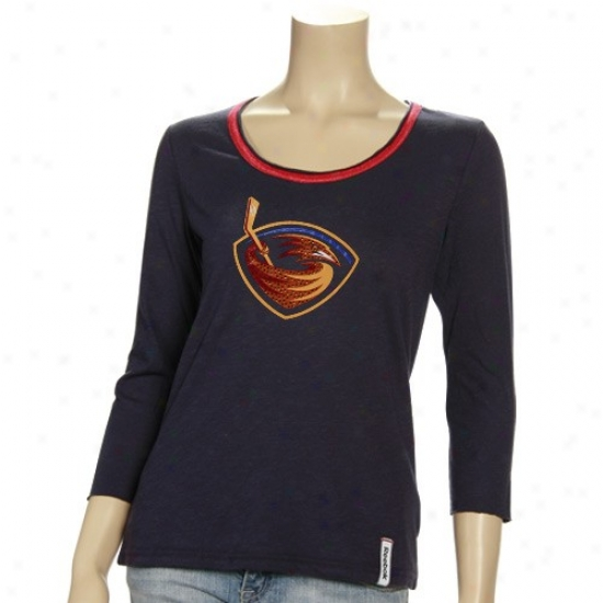 Atlana Brown thrush Attire: Reebok Atlanta Thrasher Ladies Navy Blue Ramp Up Sequined 3/4 Sleeve Prejium T-shirt