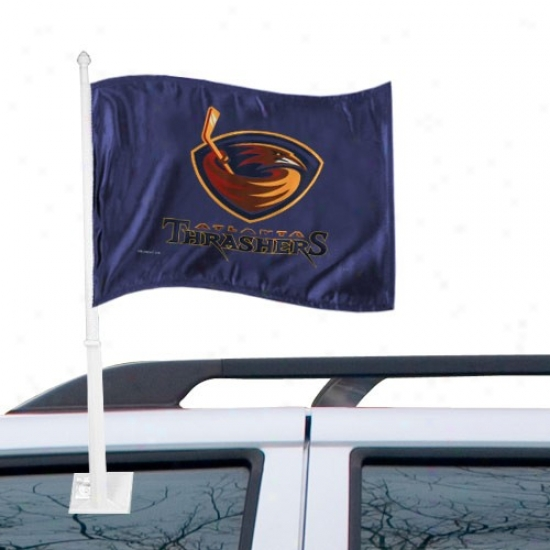 Atlanta Thrasher Flags : Atlanta Thrasher Navy Blue Car Flags