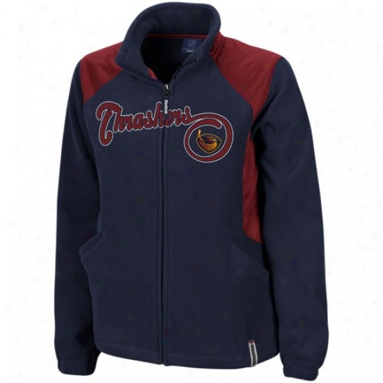 Atlanta Thrasher Jerkin : Reebok Atlanta Fox-shark Ladies Navy Blue Rhythm Microfleece Full Zip Jacket
