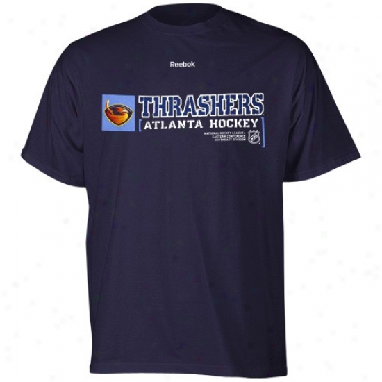 Atlanta Thrasher T-shirt : Reebok Atlanta Thrasher Navy Blue Call Sign T-shirt