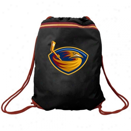 Atlanta Thrashers Black Team Logo Drawstring Backpack