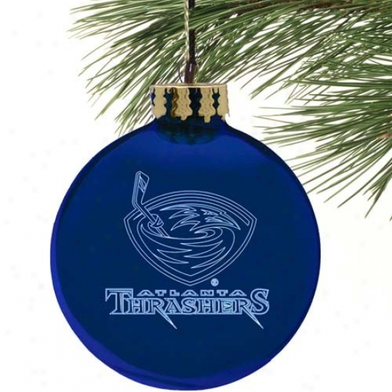 Atlanta Thrashers Navy Blue Etched Laseer Light Ornament