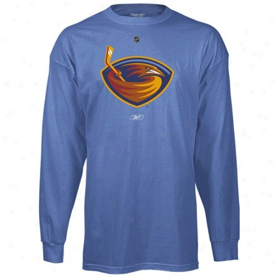 Atlanta Thrashers Shirt : Reebok Atlanta Thrashers Light Blue Primary Logo Long Sleeve Shiet