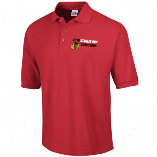 Black Hawks Clothing: Majestic Black Hawks Red 2010 Nhl Stanley Cup Champions Game Attractive Polo