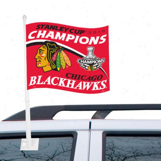 Black Hawks Flag : Black Hawks 2010 Nhl Stanley Cup Champions Red Car Flag