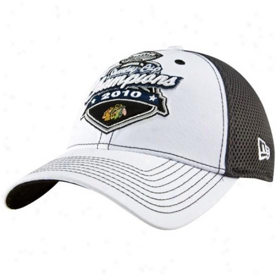 Black Hawks Gear: New Era Blak Hawks Black-white 2010 Nhl Stanley Cup Champions Official Locker Room Flex Fit Hat