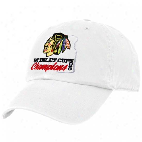 Black Hawks Hat : Twins '47 Black Hawks White 2010 Nhl Stanley Cup Champions Adjustable Slouch Hat