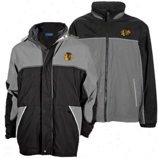 Black Hawks Jacker : Black Hawks Black-gray Quadrant Outer Shell Saturated Zip Heavyweight Reversible Jacket
